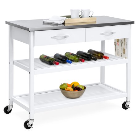 Kitchen Island Shelves - Best Choice Products Mobile Kitchen Island Utility Cart w Stainless Steel Countertop, Drawers & Shelves for Storage