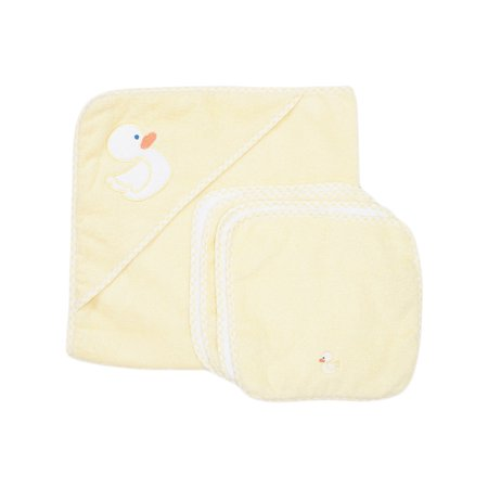 Spasilk Hooded Towel & 4 Washcloth Set, Yellow Duck