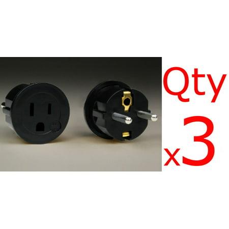 3 Pack of European Asian Schuko Plug Adapters - USA to Europe / Asia American to Euro Black