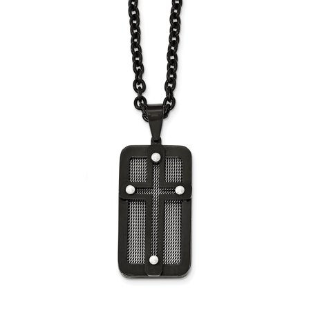 Stainless Steel Polished Black IP-plated with Wire Inlay Cross Necklace 24.5in - image 2 of 2