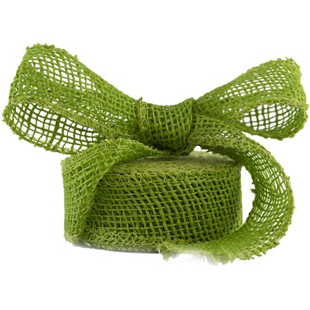 JAM Paper Burlap Ribbon, 1 1/2 x 10 yards, Lime Green, Sold Individually