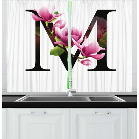 Letter M Curtains 2 Panels Set, Magnolia Florets Dignity and Nobility Expressing Flowers in Alphabet Design, Window Drapes for Living Room Bedroom, 55W X 39L Inches, Pink Green Black, by Ambesonne
