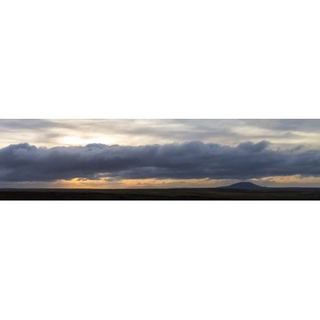 Storm clouds over First Mountain at sunset Pebble Island Falkland Islands Canvas Art - Panoramic Images (36 x 12)