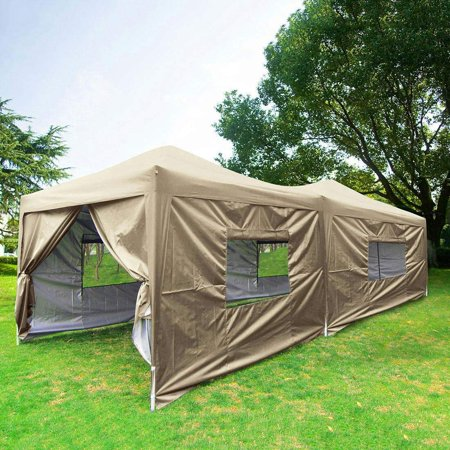 Upgraded Privacy 10x20 EZ Pop up Canopy Tent Instant Large Party Tent 6 Sidewalls, Mesh Windows Wheeled Bag Waterproof
