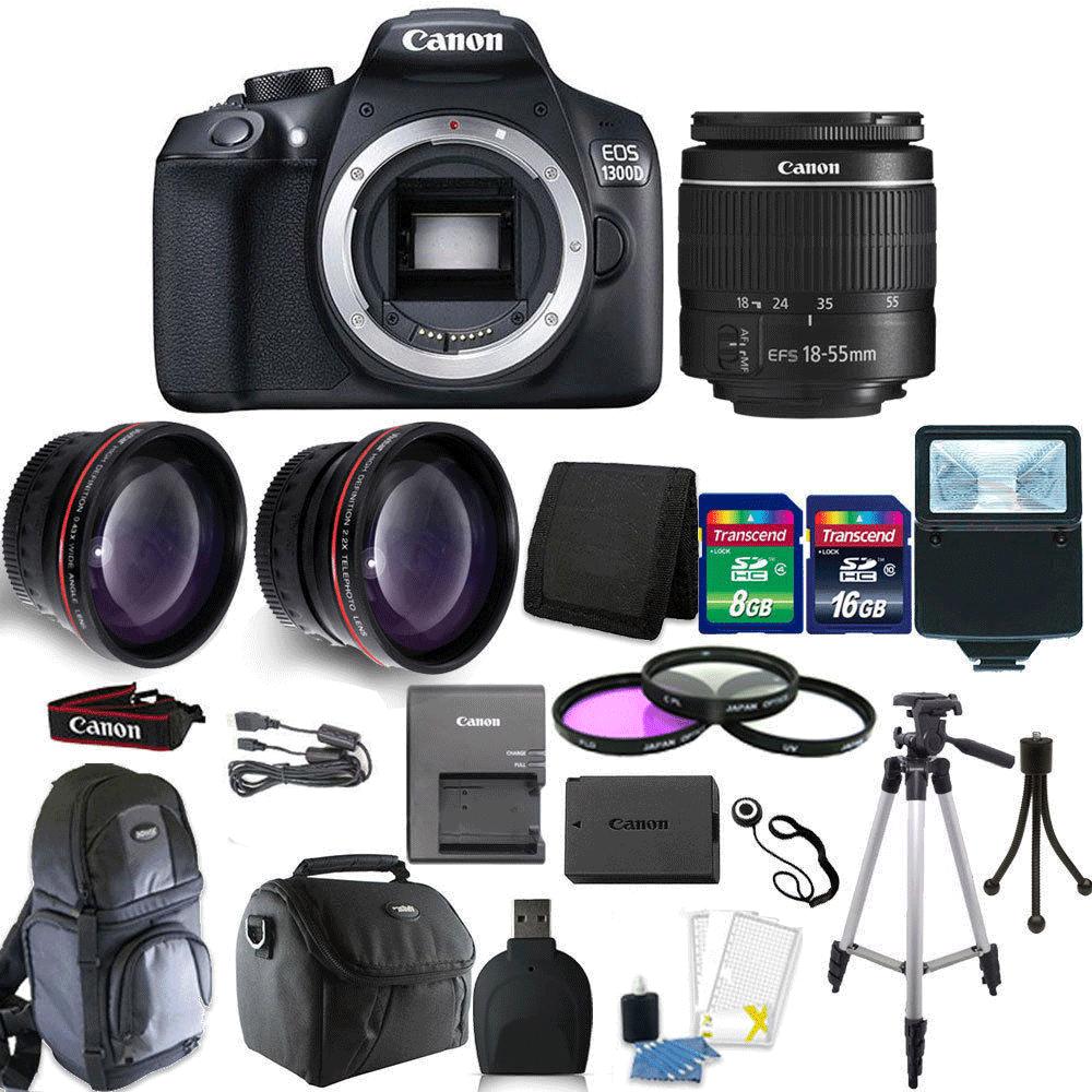 Canon EOS Rebel 1300D/T6 18MP DSLR Camera + 18-55mm  Lens + 24GB Top Bundle