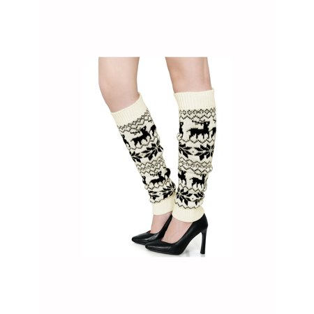 - Women's Knee High Snowflake Deers Pattern Stretch Leg Warmers Pair White