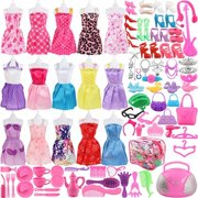 sotogo 106 pieces doll clothes set for barbie dolls include 15 pieces clothes party grown outfits and 90 pieces different doll accessories for little girl