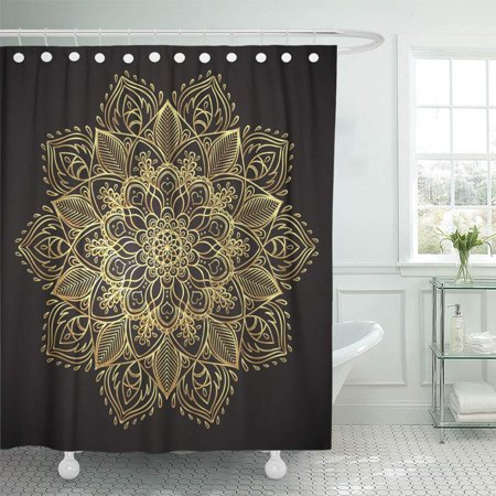 PKNMT Ornate Round Mandala Vintage Golden Stickers Flash Temporary Tattoo Mehndi and Yoga Waterproof Bathroom Shower Curtains Set 66x72 inch