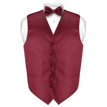 Men's Dress Vest & BOWTie Burgundy Red Woven BOW Tie Horizontal Stripe - Red Vest And Bow Tie