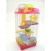 YML H3030PK3-Level Clear Plastic Dwarf Hamster Mice Cage with Ball on Top, Pink