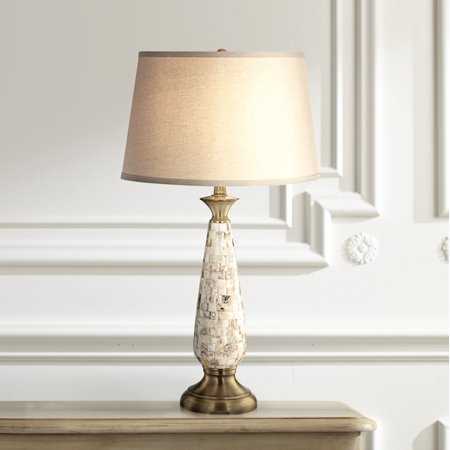 Barnes and Ivy Coastal Table Lamp Mother of Pearl Mosaic Tapered Drum Shade for Living Room Family Bedroom Bedside (Sun Shades Pearl Ms)