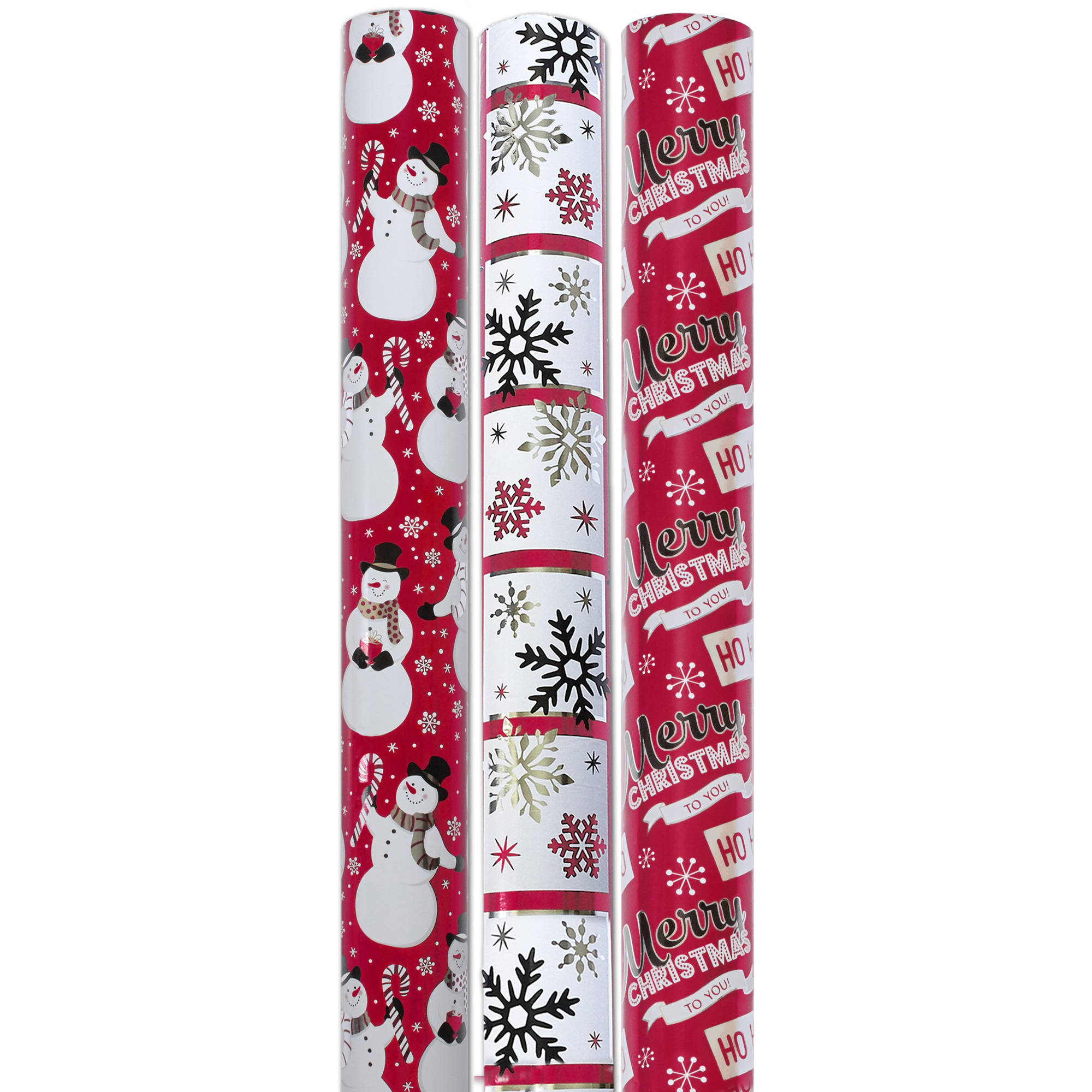 "Holiday Time 30"" Wide 3 Rolls Reversible Foil Gift Wrapping Paper, Red/Black"