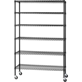 Heavy Duty Black Mobile Wire 6-Level Shelving Unit