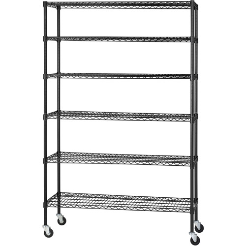 "Muscle Rack 48""W x 18""D x 74""H Six-Level Mobile Wire Shelving, Black"