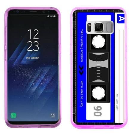 Fit Galaxy S8 PLUS, OneToughShield ® Slim-Fit Premium TPU Gel Phone Case (Pink Bezel) for Samsung Galaxy S8+ / S8 PLUS - Cassette Blue
