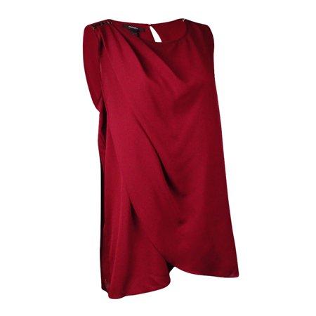 Alfani Women's Embellished Shoulder Pleated Crepe Top