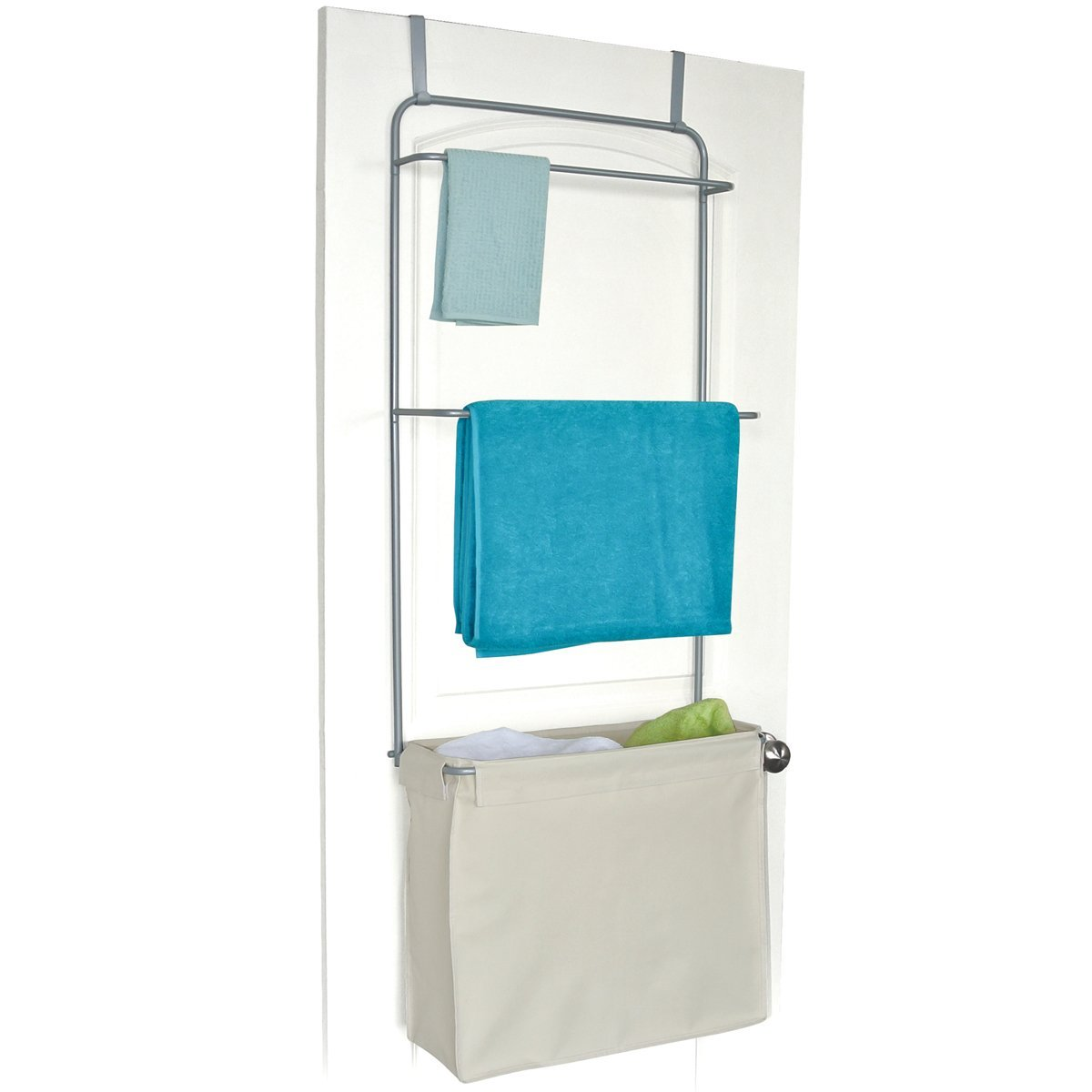 Homz Over-the-Door Towel and Garment Organizer with Laundry Bag ...