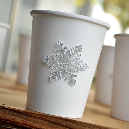 Winter Party Supplies (Silver Winter Onederland Party Supplies 10CT. Paper Party Cups. Snowflake Paper Cups. Paper Cups for Hot)