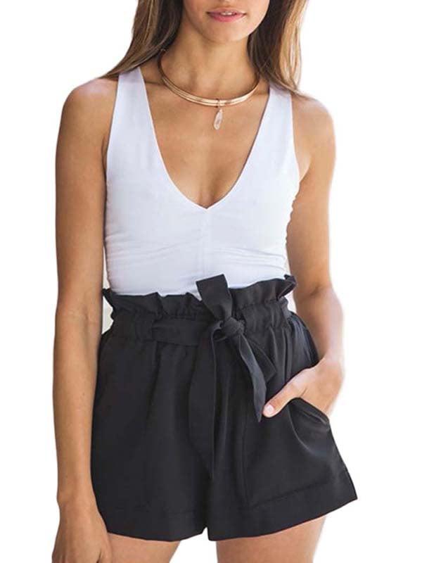 JIMSHOP Women High Waist Casual Elastic Shorts Pants