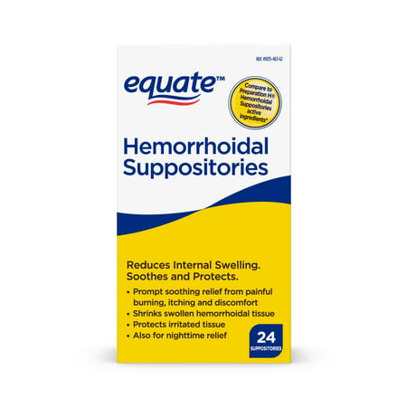 Equate Pain Relief Hemorrhoidal Suppositories, 24