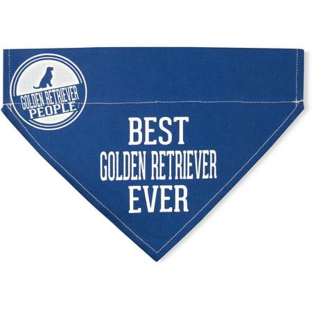 Pavilion - Best Golden Retriever Ever - Blue Canvas Large Dog Bandana Collar - 12