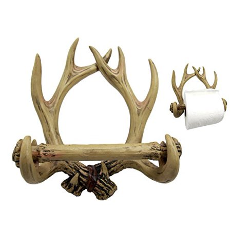 Decoration For Toilet (Atlantic Collectibles Rustic Deer Antlers 10 Point Buck Toilet Paper Holder Bathroom Wall)