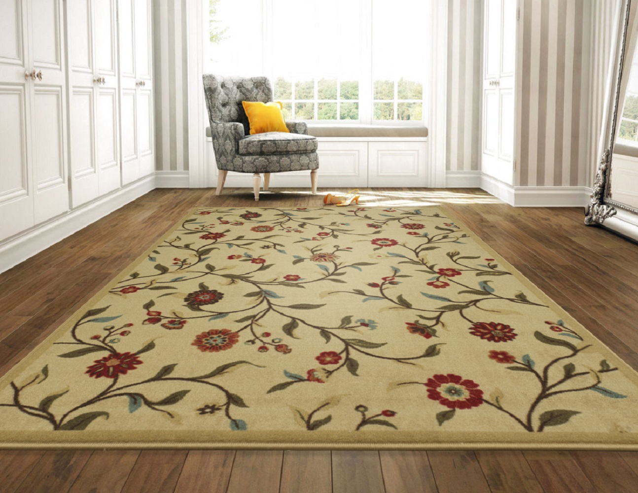 Ottomanson Ottohome Collection Floral Garden Design Modern Area Rugs and Runners with... by Ottomanson