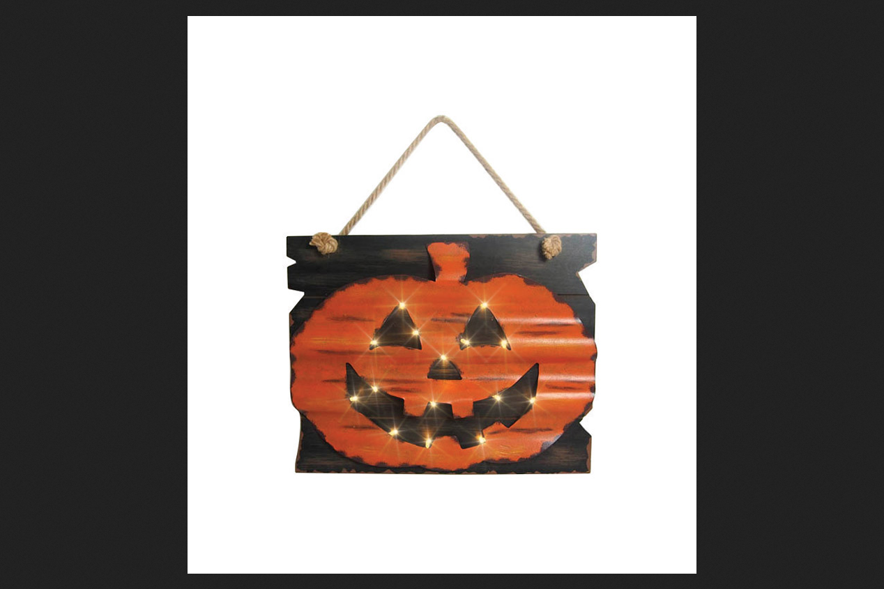 Celebrations Lighted Pumpkin Wall Decor Lighted Halloween Decoration Orange  17 13/15 In.