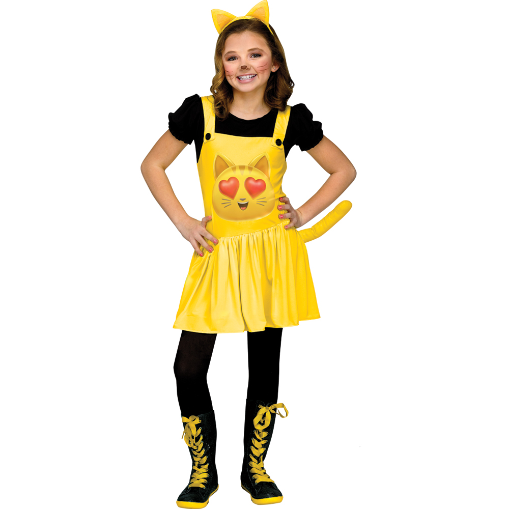 Girls Nerd Cat Heart Eyes Emoji Movie Costume  sc 1 st  Walmart & Cat Costumes for Girls