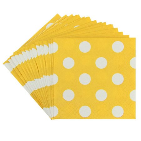 Yellow Polka Dot Napkins (JAM Small Polka Dot Beverage Napkins, 5 x 5, Yellow with Polka Dots,)