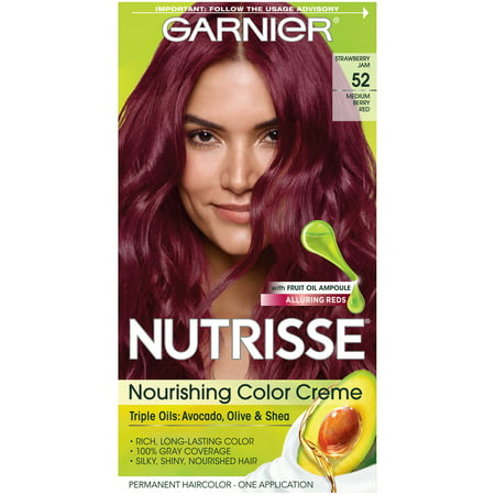 Garnier Nutrisse Nourishing Hair Color Creme with Triple Oils, Strawberry Jam 52, Medium Berry Red, 1 (Collar Berry)