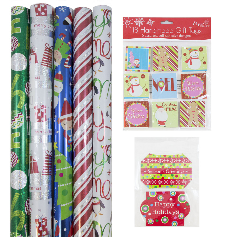 JAM Paper Gift Wrapping Bundle, Playful Christmas, 5 Rolls of Wrapping Paper (125 sq ft) / 2 Packs of Gift Tags