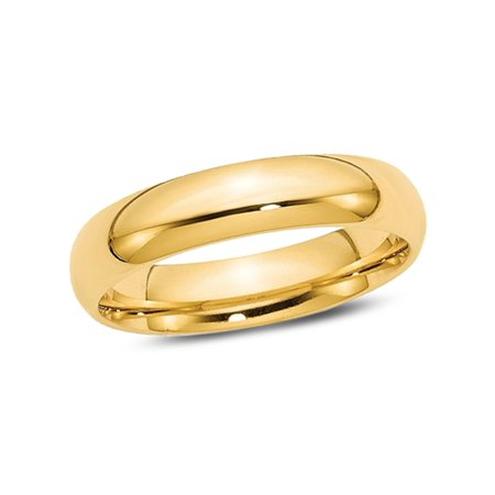 Ladies or Mens 14K Yellow Gold Comfort Fit 5mm Wedding Band