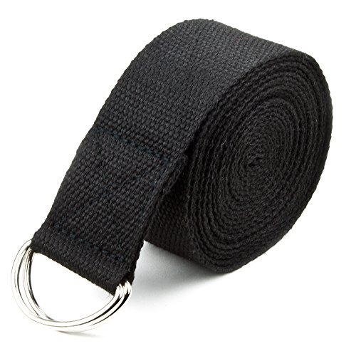 Crown Sporting Goods 8' Cotton Yoga Pose Support Strap, Metal D Ring, Black