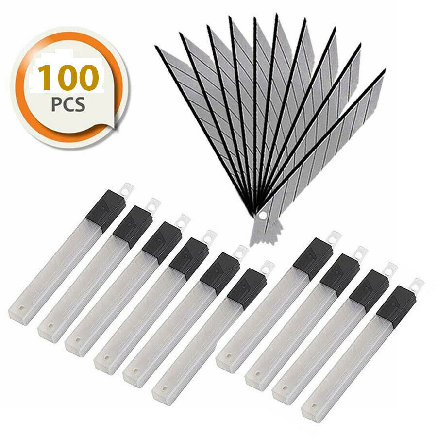 100 Pcs Snap Off 9mm Utility Cutter Blades 30 Degree for OLFA Cutter Japan Steel