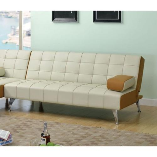 ACME Furniture Lytton Faux Leather Sofa in Beige and Brown