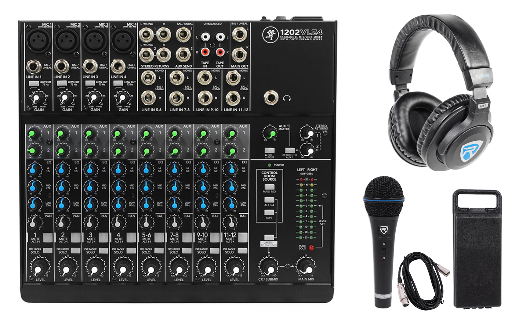Mackie 1202VLZ4 12-channel Compact Analog Mixer w 4 ONYX Preamps+Headphones+Mic by Mackie