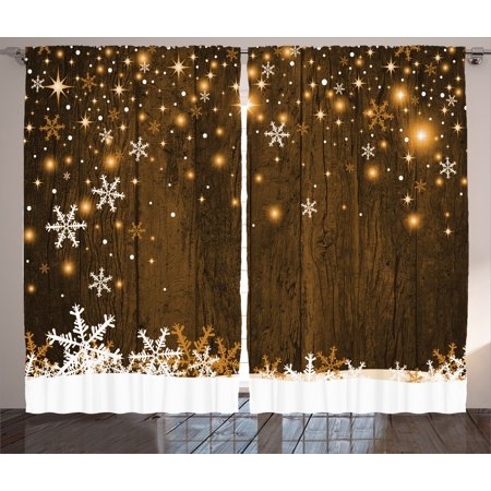 Christmas Decorations Curtains 2 Panels Set Rustic Wooden