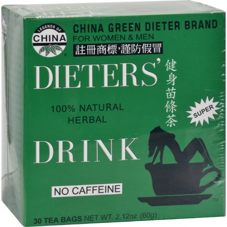 Dieters Tea Bags (China Green Dieters Tea Caffeine Free 30 Tea Bags)
