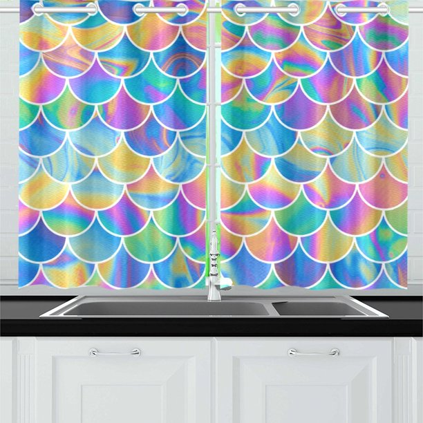 Mkhert Mermaid Scales Window Curtain Kitchen Curtain 26x39 Inch Two Piece Walmart Com Walmart Com