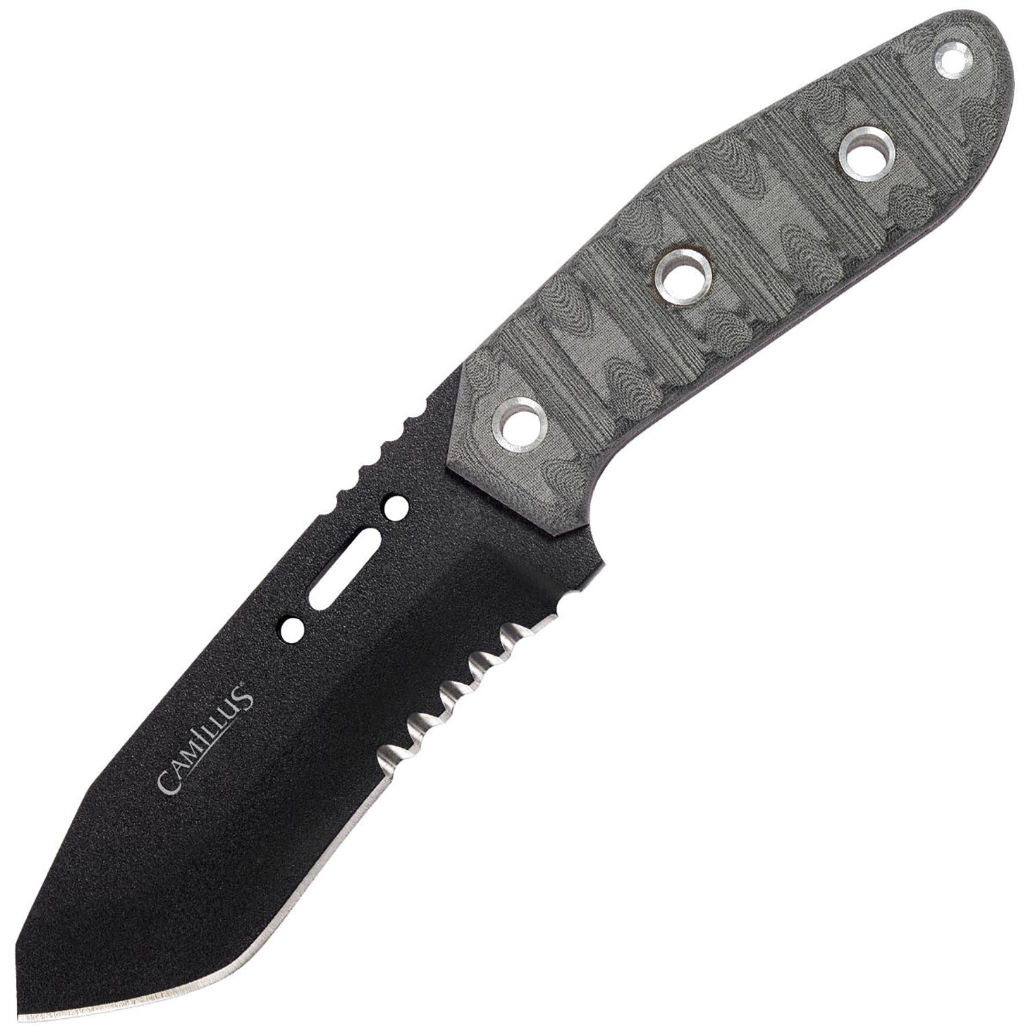 "Camillus CK-9, 9.5"" Fixed Blade Knife, USA 1095 High Carbon Steel, with Sheath and Whistle"