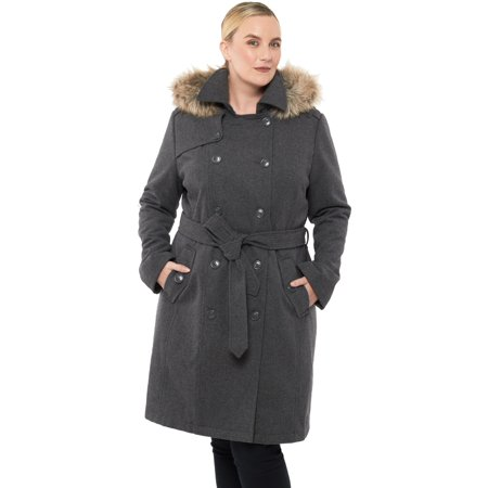 Satin Trench Jacket - Alpine Swiss Womens Parka Trench Pea Coat Belt Jacket Fur Hood Reg & Plus Sizes