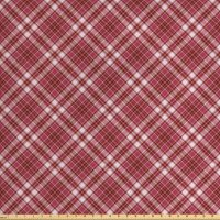 Checkered Fabric by The Yard, Diagonal Checkered Pattern with Strips and Rhombus in Rose Tones, Decorative Fabric for Upholstery and Home Accents, by Ambesonne