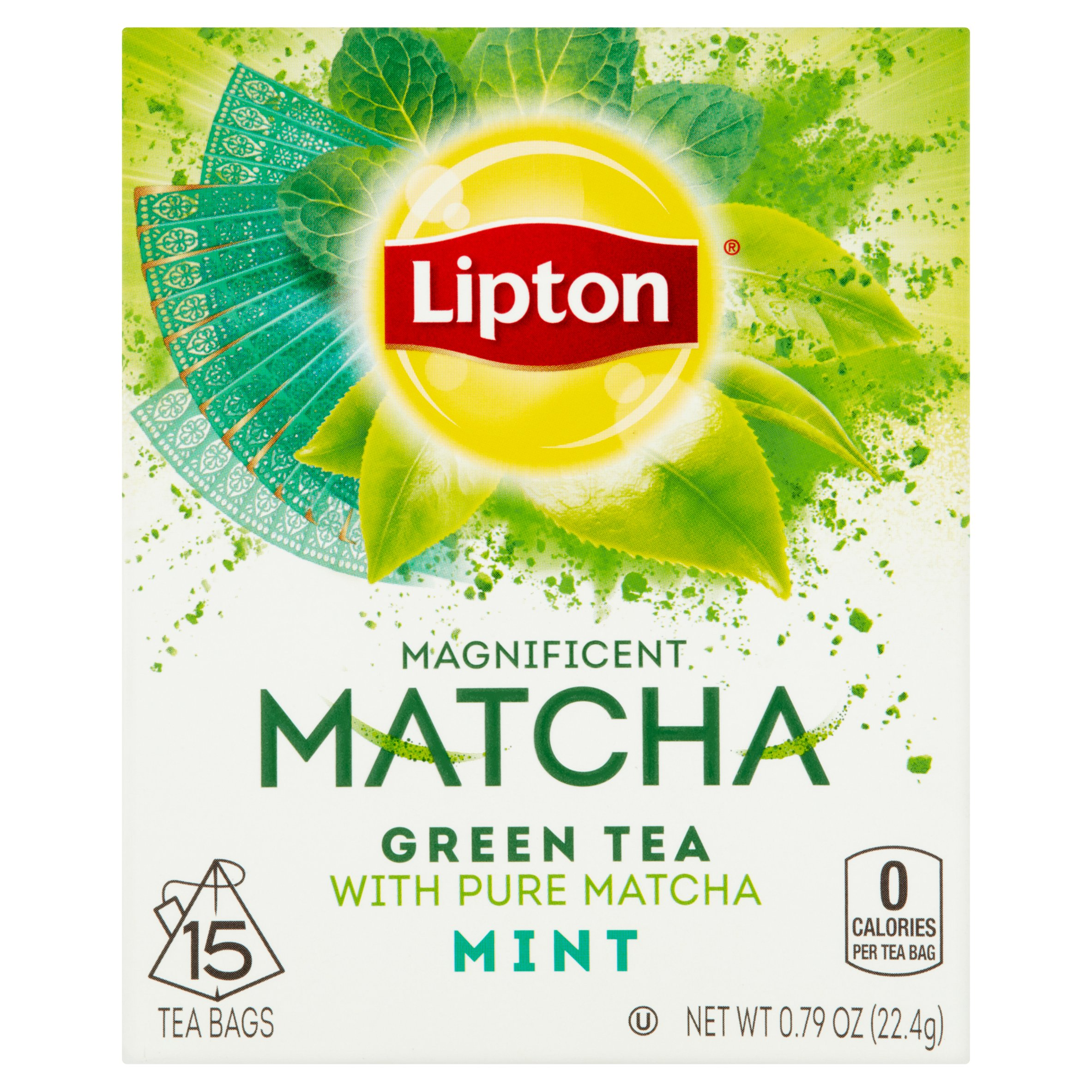 (3 Pack) Lipton Magnificent Matcha Green Tea Bags Mint 15 ct