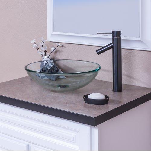Topia Clear Glass Circular Vessel Bathroom Sink With Faucet Walmart Com Walmart Com