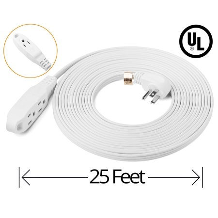 ClearMax 25 Feet 3 Outlet Extension Cord 16AWG Indoor / Outdoor Use - White - UL