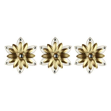 Multi Color Jeweled Flower - Jeweled 3D Metal Flower Wall Sculpture Set of 3