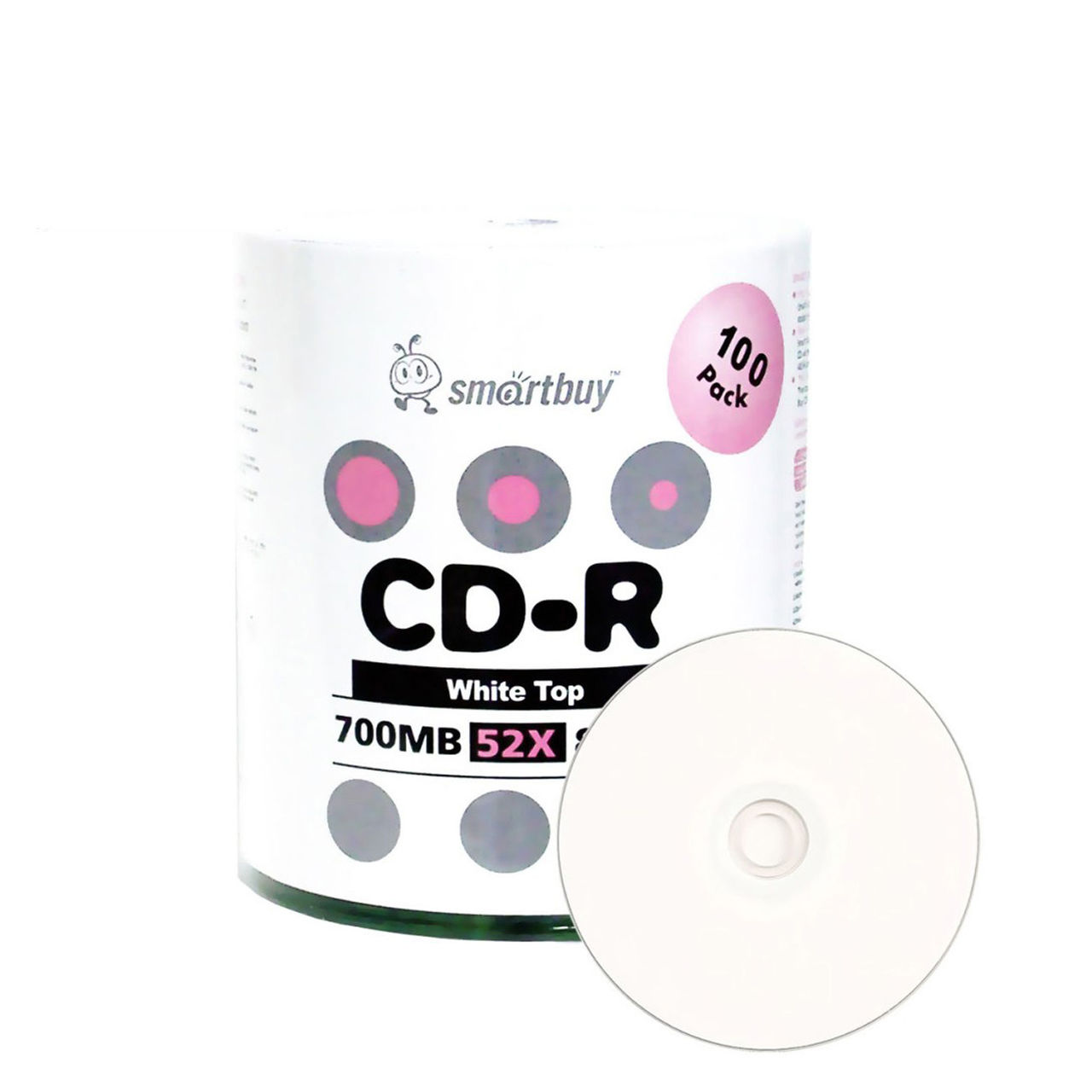 100 Pack Smartbuy 52X CD-R 700MB 80Min White Top (Non-Printable) Data Blank Media Recordable Disc