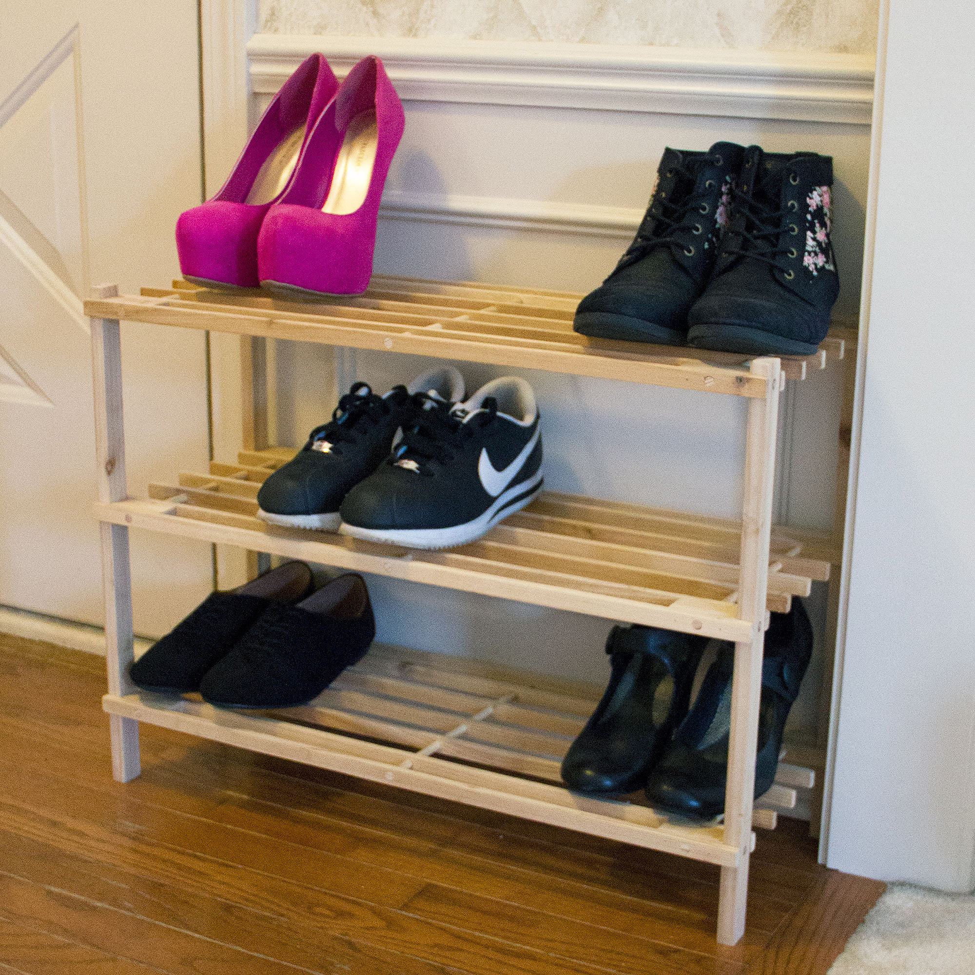 Lavish Home 3-Tier Blonde Wood Storage Shoe Rack