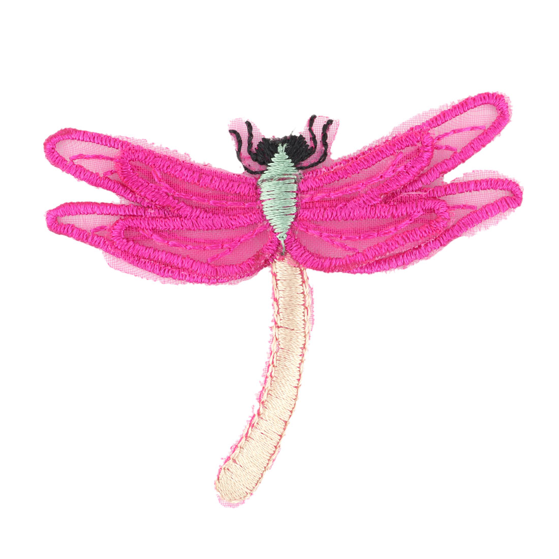 Unique Bargains Organza Dragonfly Design Embroidered DIY Clothes Decor Lace Applique Fuchsia